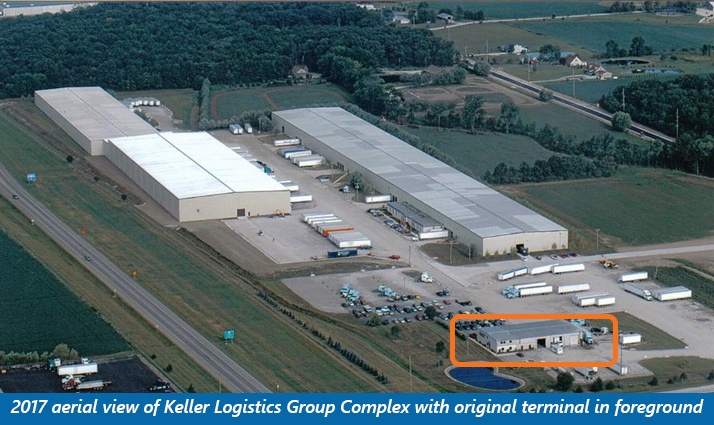 2017 aerial view of Keller Logistics Group Complex with original terminal in foreground