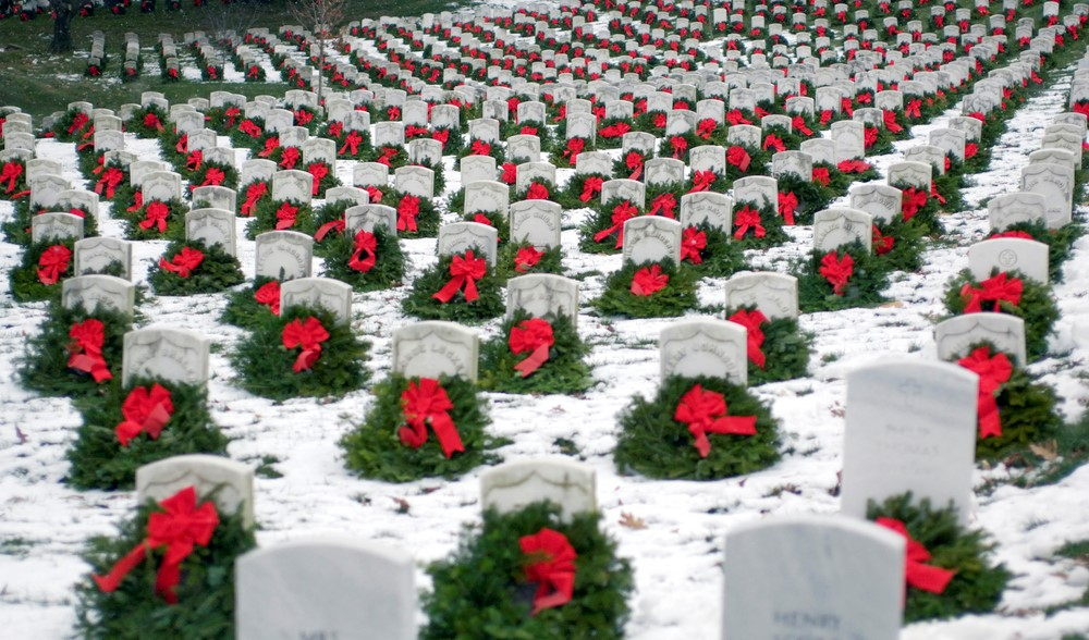 Arlington Cemetery With Wreaths In Winter.jpg