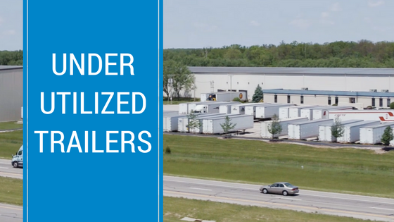 Keller warehouses with trailers in parking lot with text- Under Utilized Trailers