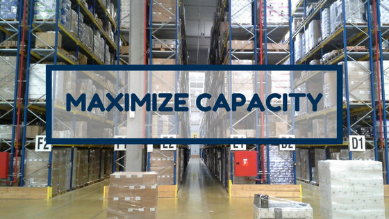 Warehouse racking full of shrink wrapped product with text Maximize Capacity