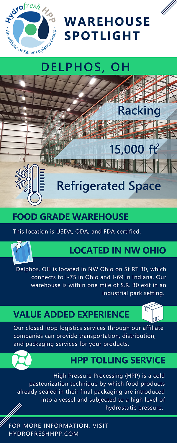 Delphos, Ohio Cold Storage Facility Spotlight. It is a Food Grade Warehouse located in Northwest Ohio that offers value add services and HPP tolling in the same facility.