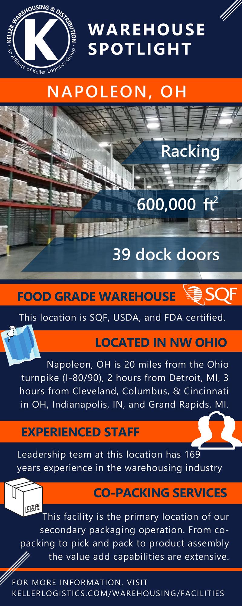 Features of Keller Warehousing & Distribution location in Northwest Ohio - Napoleon Ohio