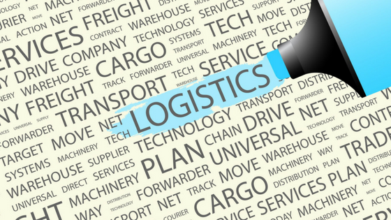 Logistics related word jumble with LOGISTICS large and being hi-lighted with blue hi-lighter
