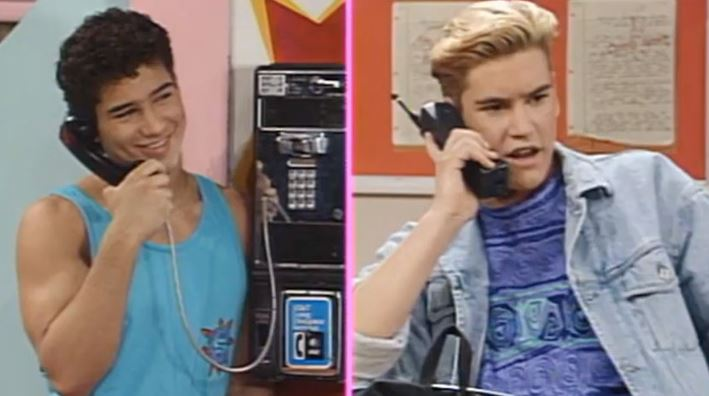 AC Slater on Pay Phone while Zack Morris is on a Cell Phone