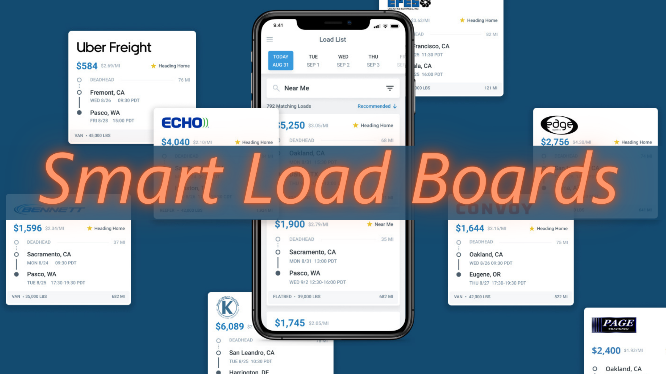 smart-load-boards-with cell-phone-image-with-fright-details-and-partner-screen-shot-clips